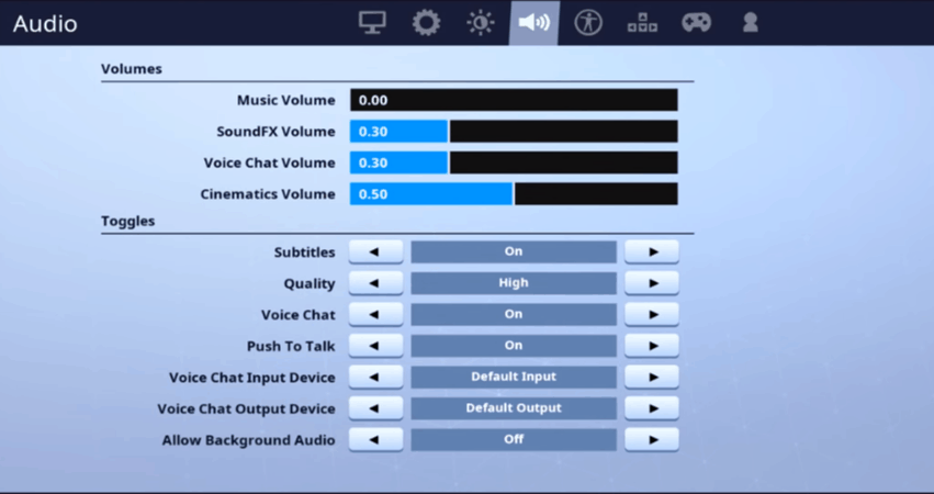tfue audio settings