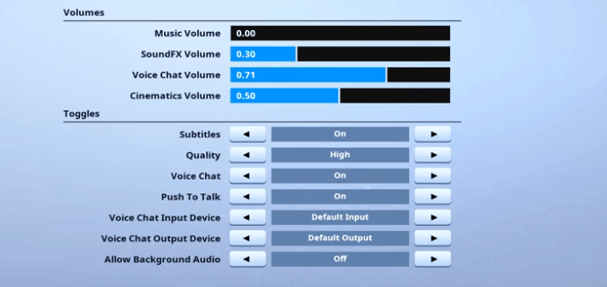 HighDistortion Audio Settings