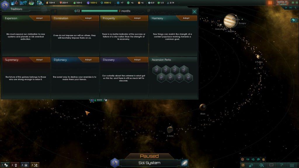 Stellaris Traditions list