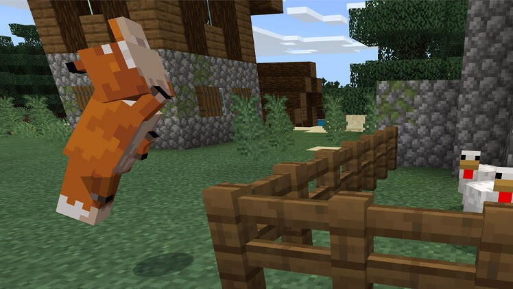 Discover a fox in minecraft