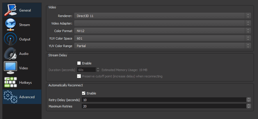 OBS output advanced options