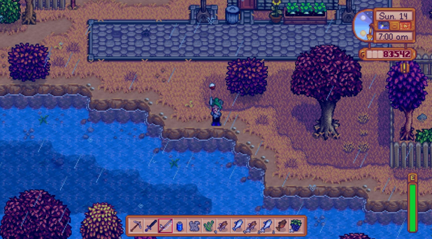 Catch a fish in stardew valley