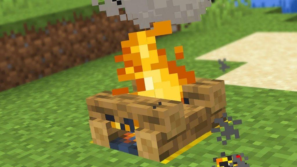 Make a campfire in minecraft