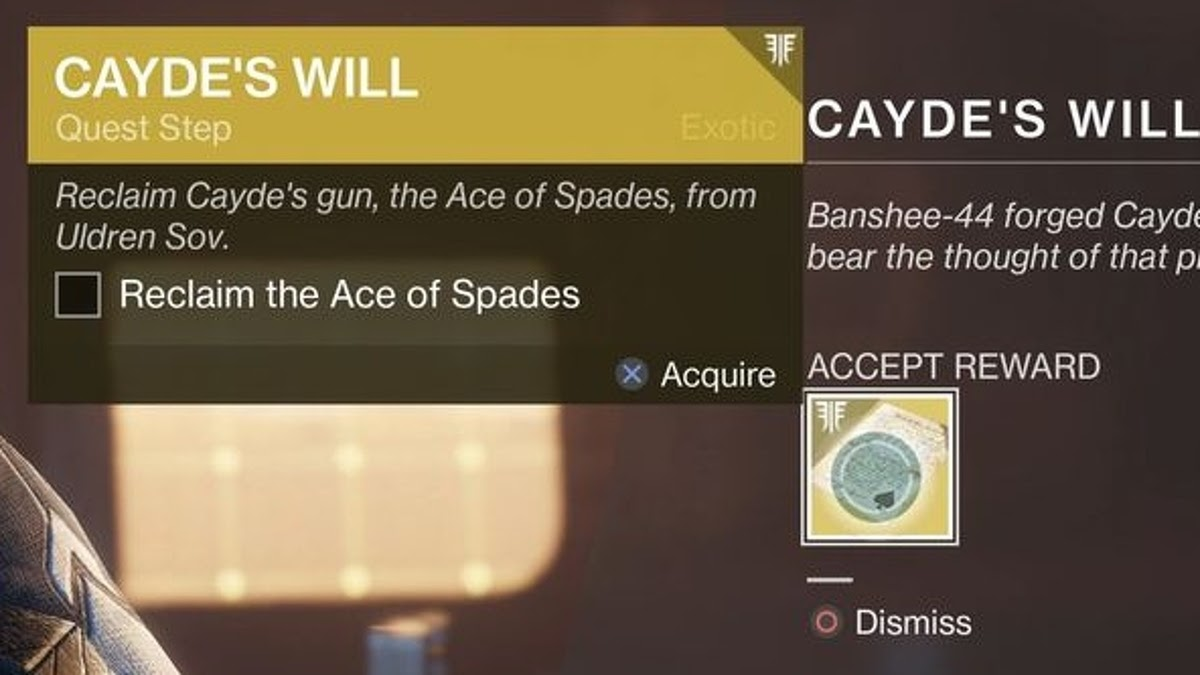 Destiny 2 Ace of Spades quest steps| Thegamedial