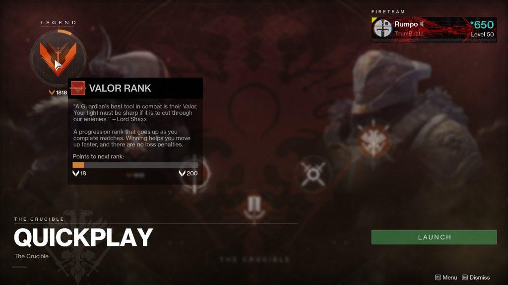 Destiny 2 valor rank
